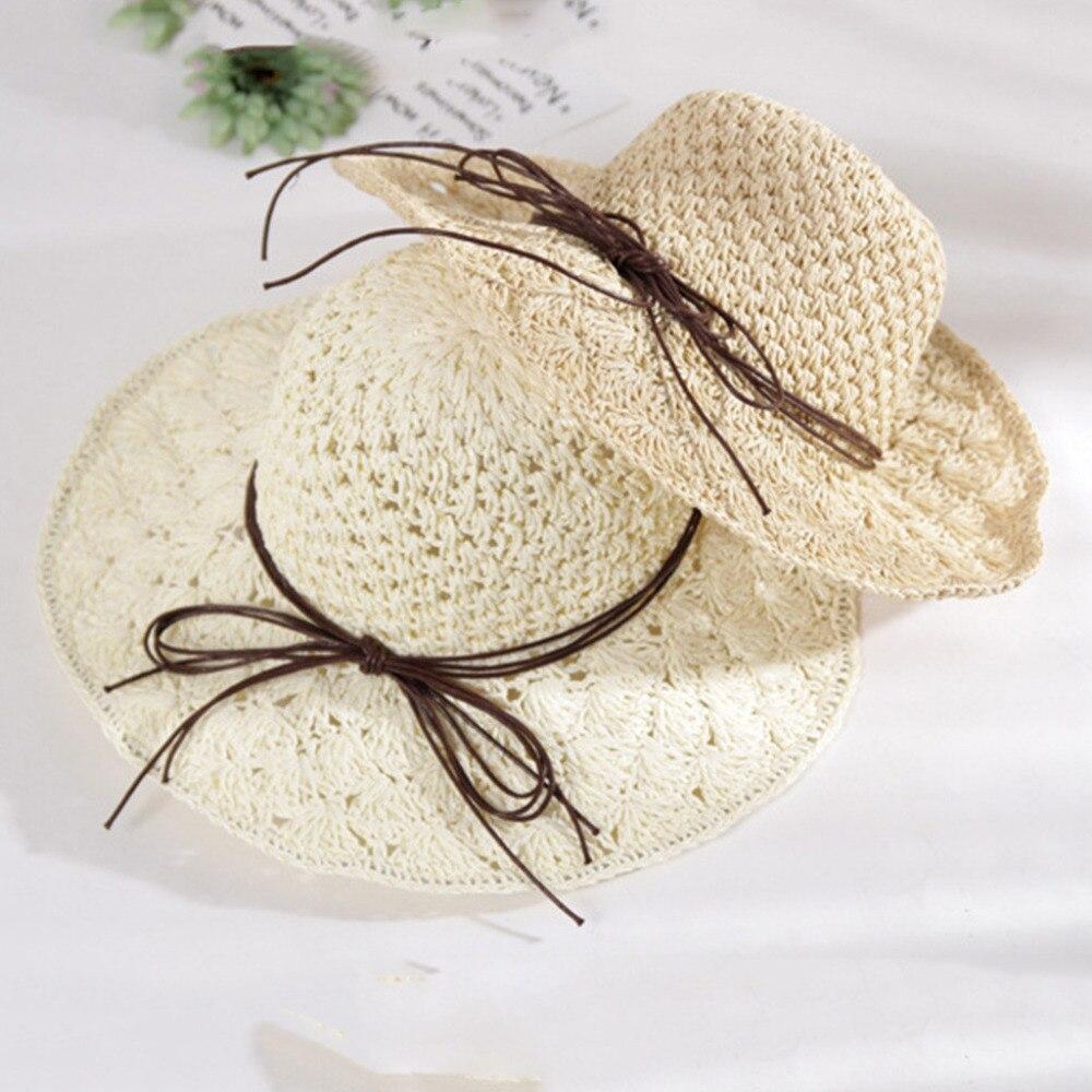 2019 summer sexy women\`s bow grass beach hat striped hood foldable rolled pretty beach hat seaside sports beach hat girl 40J5 (8)