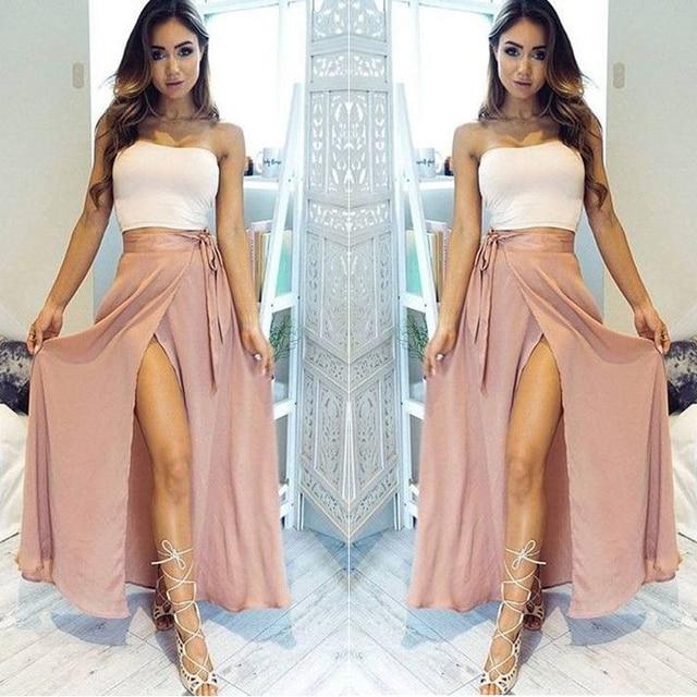4eee67b8b04 Dusty Pink Chiffon Skirt Summer Sexy High Leg Slit Skirts Women Sashes  Floor Length Maxi Skirt Personalized Bohemian Maxi Gowns
