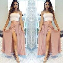 Dusty Pink Chiffon Skirt Summer Sexy High Leg Slit Skirts Wo