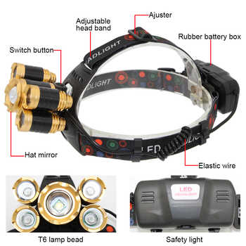 USB Rechargeable Headlamp Zoom Headlight Zoomable Head Lamp 5 LED T6 Q5 Flashlight Lanterna + 18650 Battery + USB Charger line