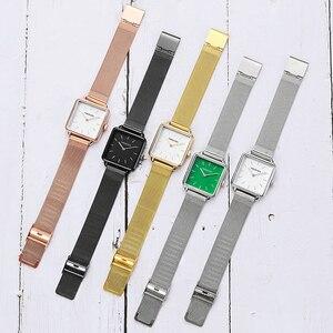Image 4 - 2019 패션 여성 시계 쿼츠 로즈 골드 스퀘어 시계 여성 스테인레스 스틸 밴드 손목 시계 럭셔리 유명 브랜드 숙녀 시계