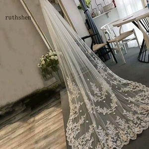 Image 4 - Long Lace Edge Bridal Veil White Ivory Wedding Veils With Comb New Bridal Accessories