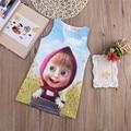 Free Shipping 2016 Girls Dress Kids Baby Vestidos Summer Dress Masha And The Bear Summer Party Dress Cartoon Printed Clothes
