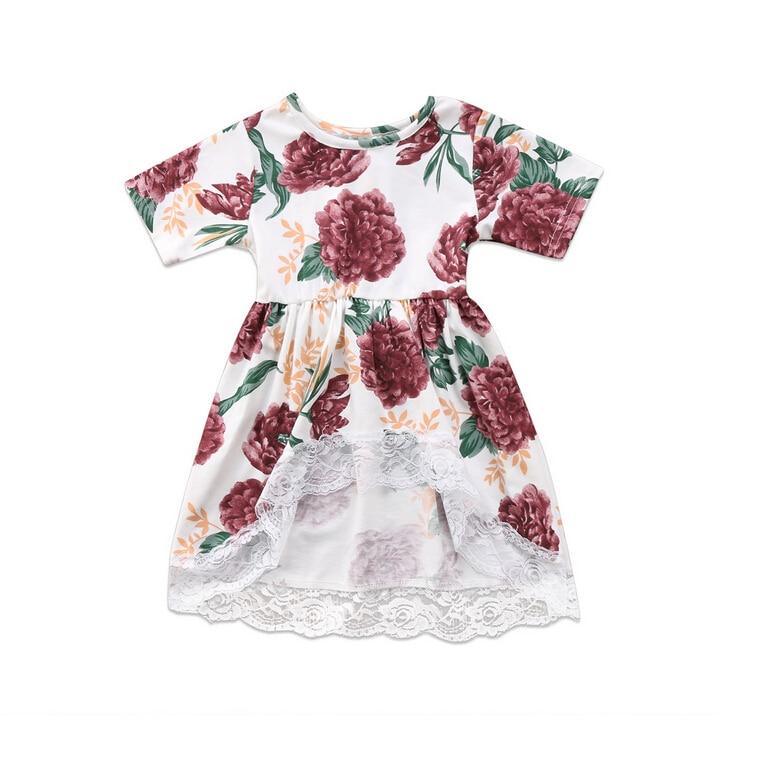 Kurzarm Blumendruck Newborn Kid Baby Mädchen Spitzenkleid Shirt Tops Sommer Prom Party Unregelmäßiger Bluse Tops Outfits Verpackung Der Nominierten Marke