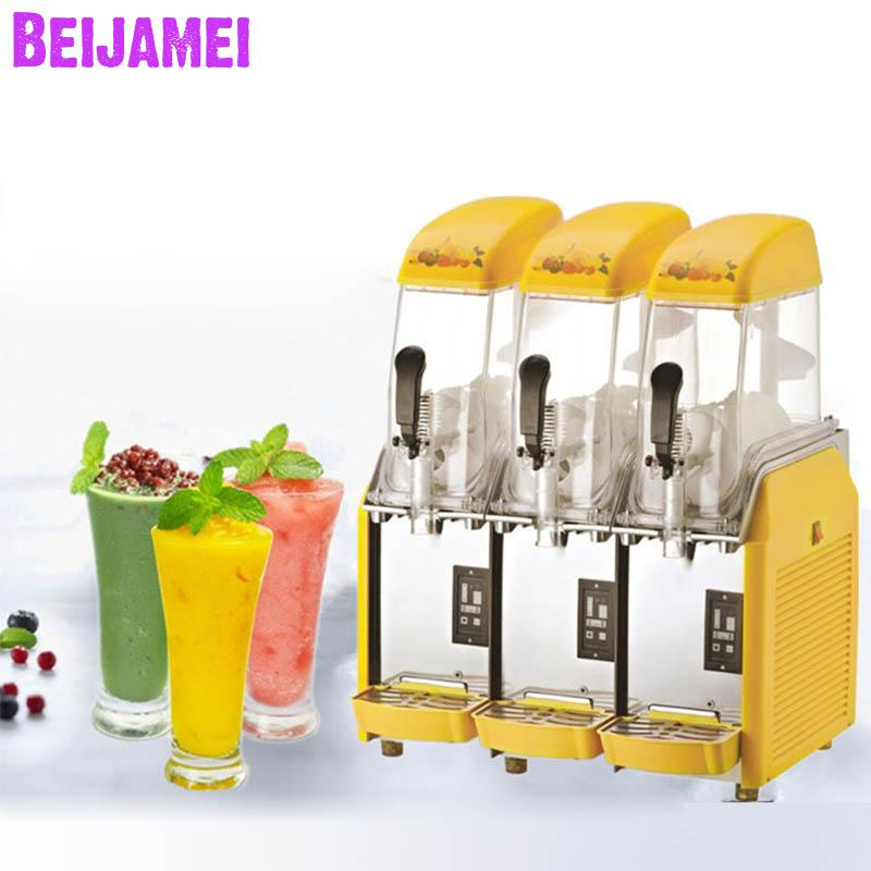 Beijamei Cold Juice Drinks Machine 3 Cylinder Snow Mud Machines Commercial Snow Melting Sand Ice Maker