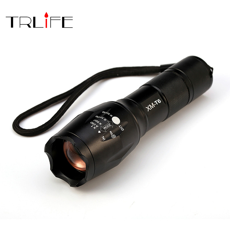 E17 CREE XM-L T6 8000 Lumens Cree Led Torch Zoomable Cree LED Flashlight Torch Light for 3xAAA or 1x18650 Free Shipping