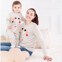 New Christmas Swearer Family Matching Mother And Daughter Clothes Cartoon Bear Mother Son Outfits Flower Baby