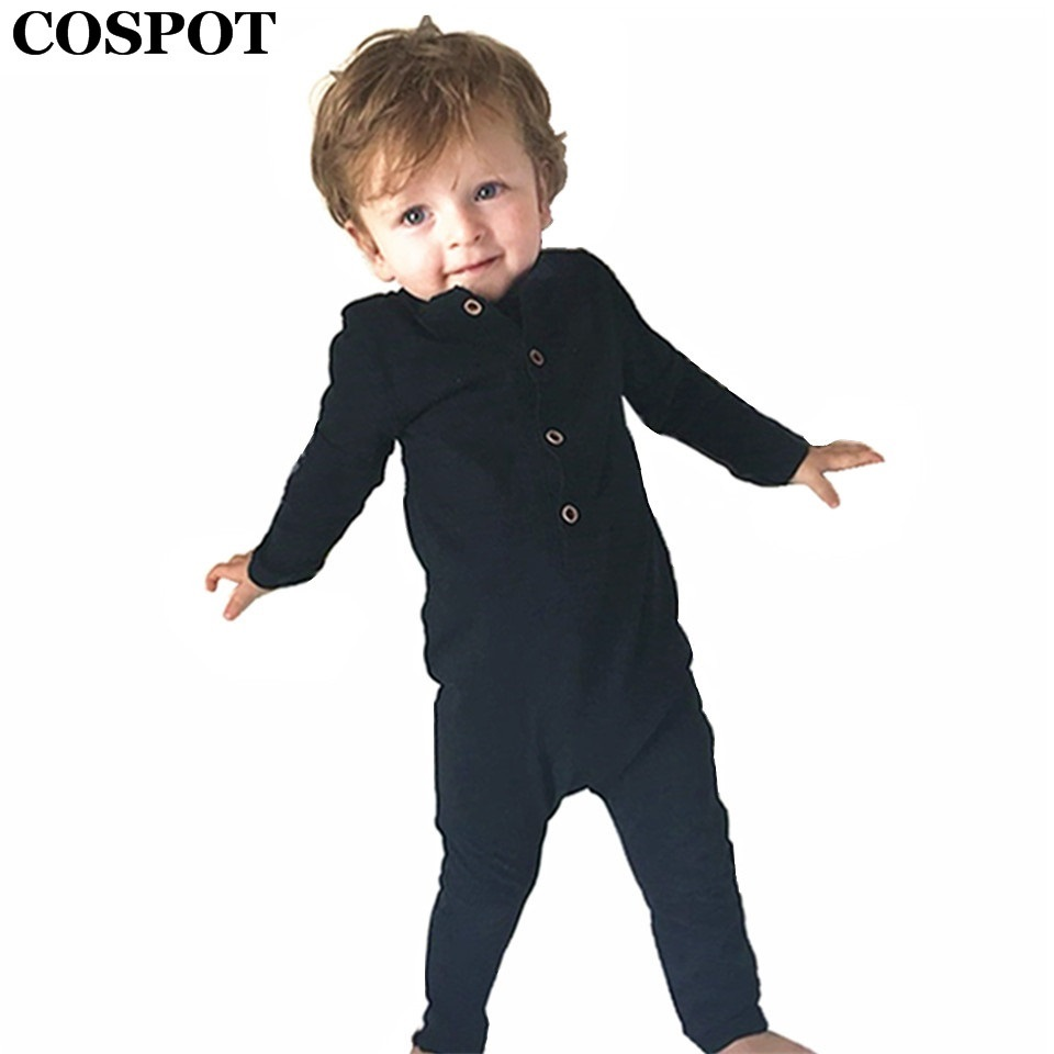 COSPOT Baby Boys Rompers Newborn Cotton Long Sleeve Jumpsuit Boy Autumn Spring Plain Black Gray Jumper 2017 New Arrival 30C cotton baby rompers set newborn clothes baby clothing boys girls cartoon jumpsuits long sleeve overalls coveralls autumn winter