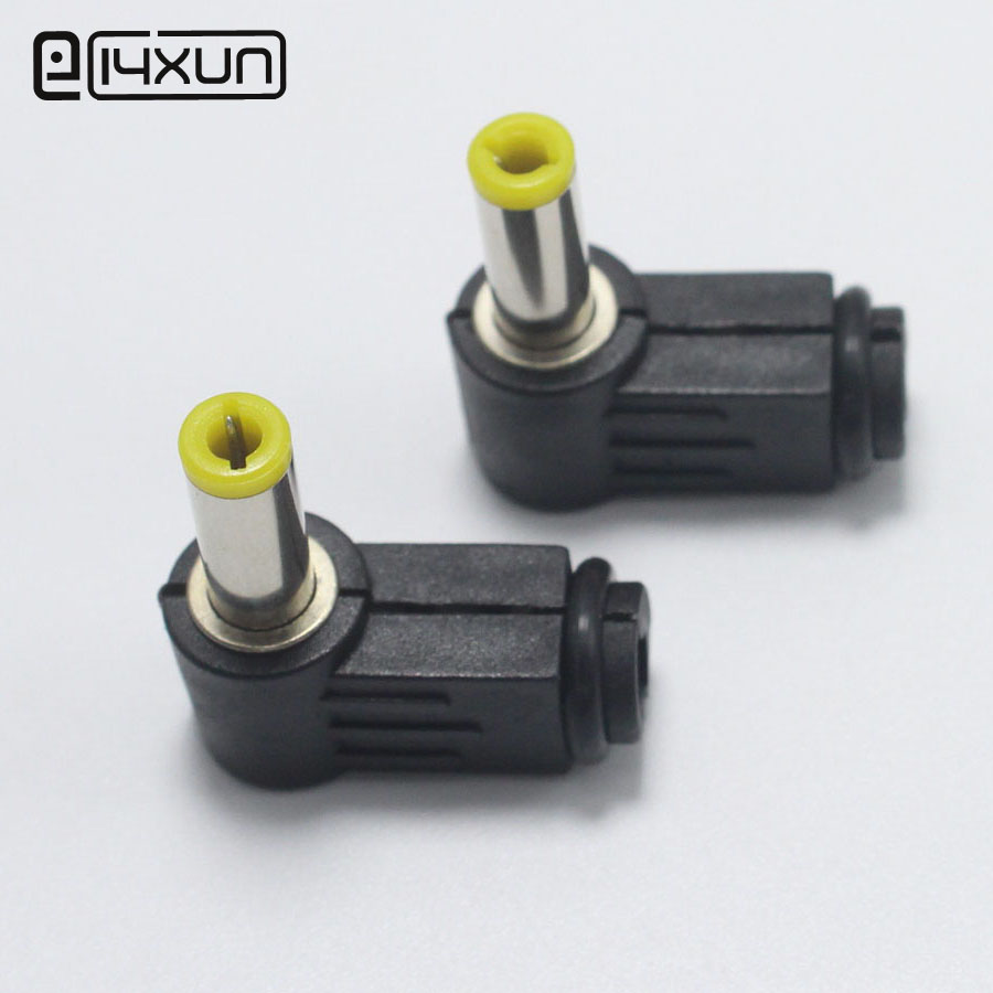 5pcs 5.5*2.1 / 5.5*<font><b>2.5mm</b></font> Male DC Power jack Plug <font><b>Connector</b></font> Right Angle Welding Electrical Plugs Audio DIY Parts Yellow Head image