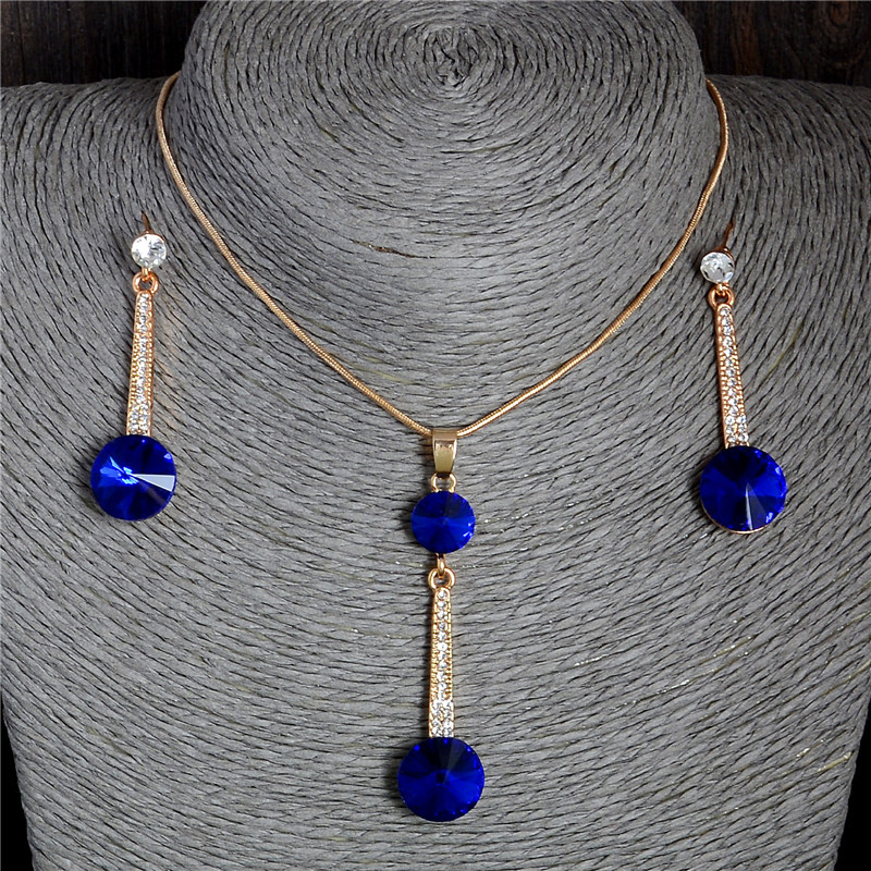2017 Gold Color Pendants & Necklace Stud Earrings Blue Natural Stone Cubic Zirconia Crystal Romantic Bridal Jewelry Sets(China)