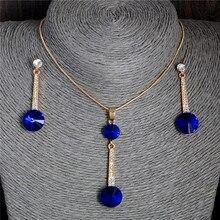 Подвески и ожерелье золотого цвета, серьги-гвоздики, синий натуральный камень, кубический цирконий, кристалл, романтические свадебные ювелирные наборы