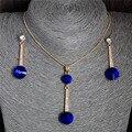 2015 Chapado En Oro Colgantes y Aretes Collar Azul Natural Piedra Cúbica del Zirconia Cristal Romántica Sistemas de La Joyería Nupcial