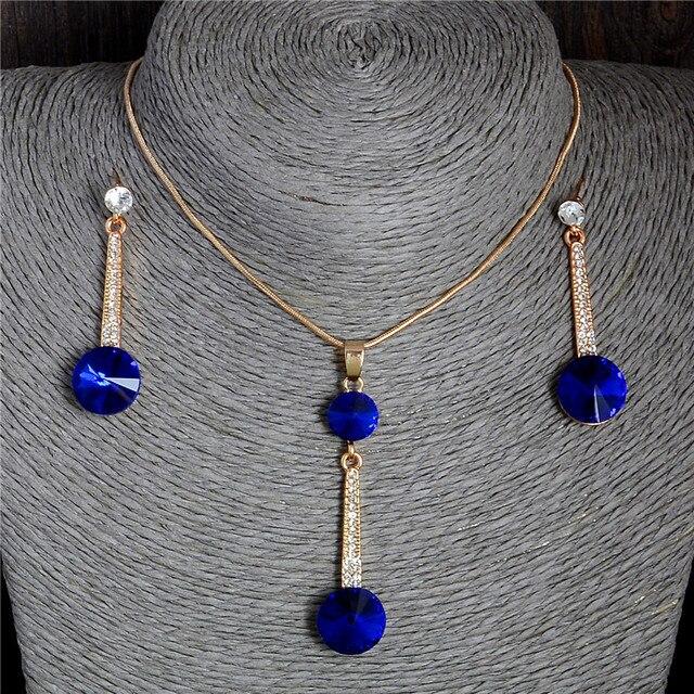 2017 זהב צבע תליוני & שרשרת Stud עגילי כחול טבעי אבן מעוקב Zirconia קריסטל רומנטי כלה תכשיטי סטים