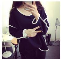 All-match Sweatshirt Geometry Design Loose And Long Sleeve Spring Autumn Sweatshirt Women 3 Colors Moletom