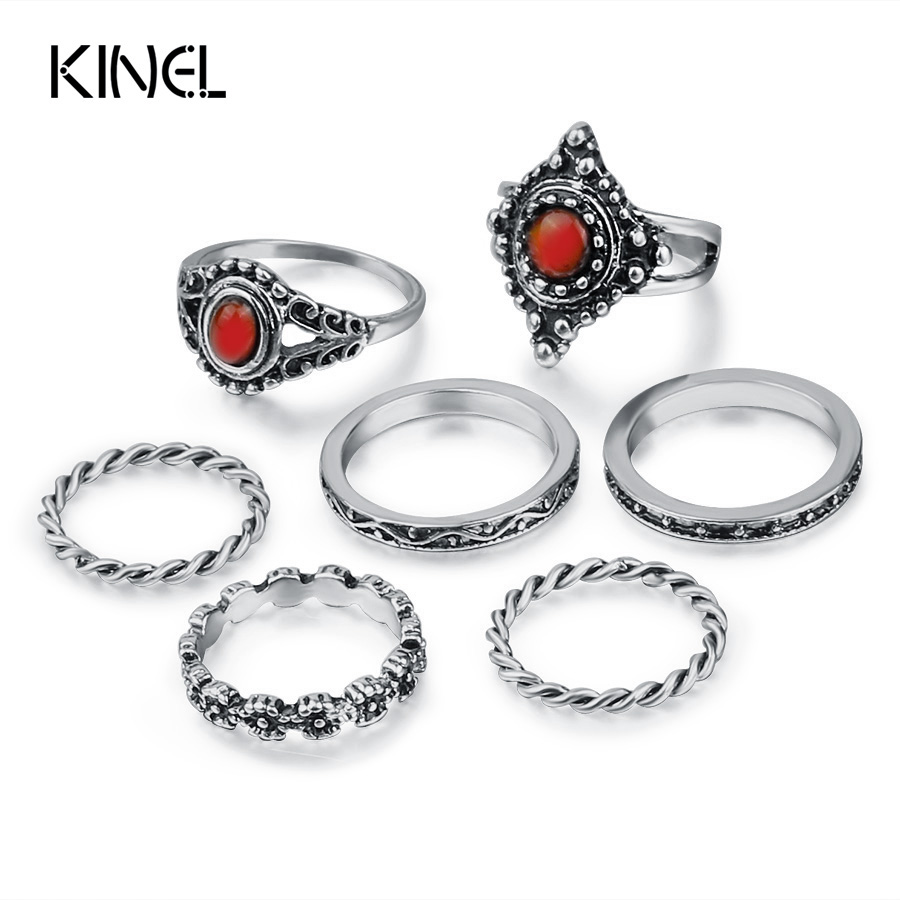 Kinel 7pcs/Set Boho Red Opal Midi Ring Set Tibetan Antique Silver Color Crystal Rings For Women Vintage Jewelry 2017 New
