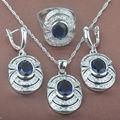 Newst Pedra Azul das Mulheres de Prata Esterlina 925 Conjuntos de Jóias Colar Pingente Brincos Anéis Frete Grátis TZ055