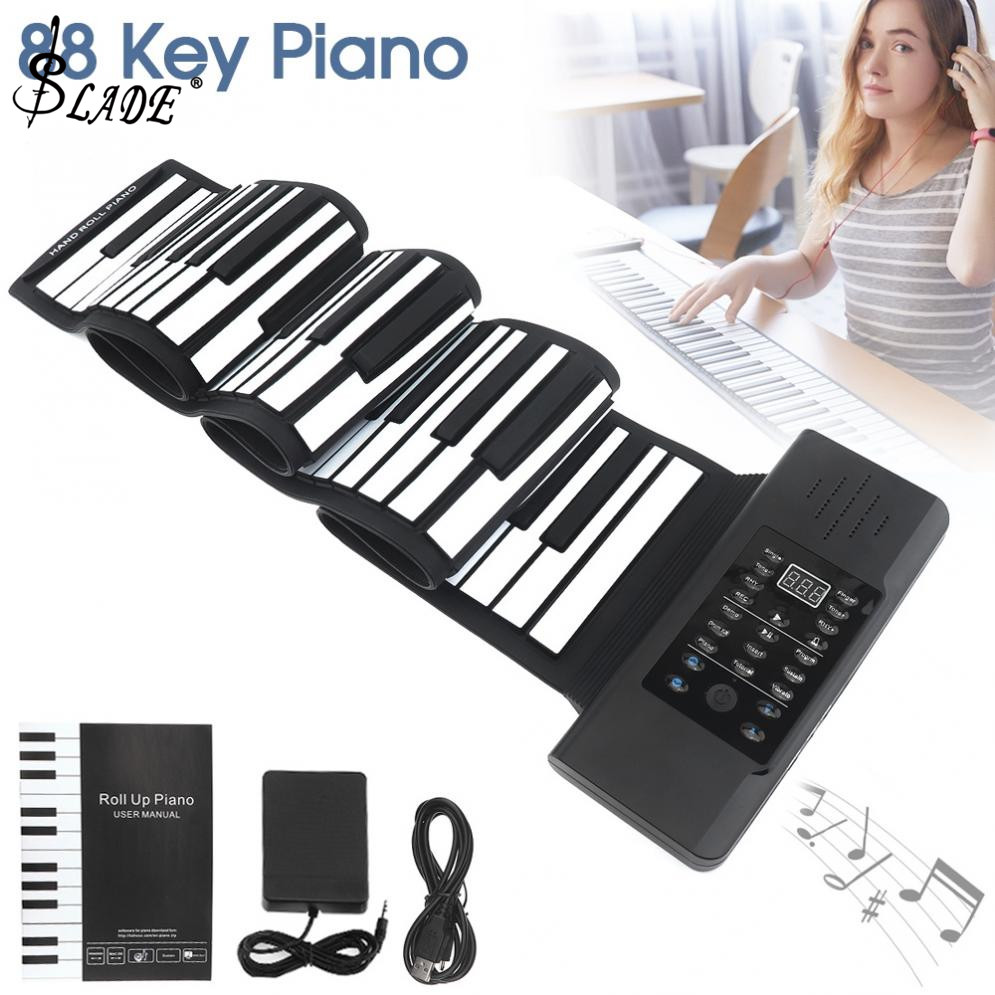 88 Keys USB MIDI Output Roll Up Piano Rechargeable Electronic Silicone Flexible Keyboard Organ Built-in Speaker88 Keys USB MIDI Output Roll Up Piano Rechargeable Electronic Silicone Flexible Keyboard Organ Built-in Speaker