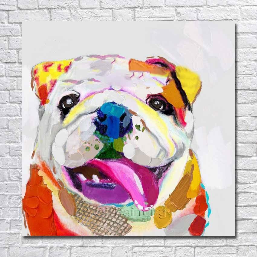 ⊱Envío libre pintado a mano abstracto imagen del perro historieta ...