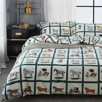4Pcs 100% Cotton Queen King size Lovely Cartoon Bedding set Animal Duvet Cover Set Bed sheet Pillowcase white blue horse dog