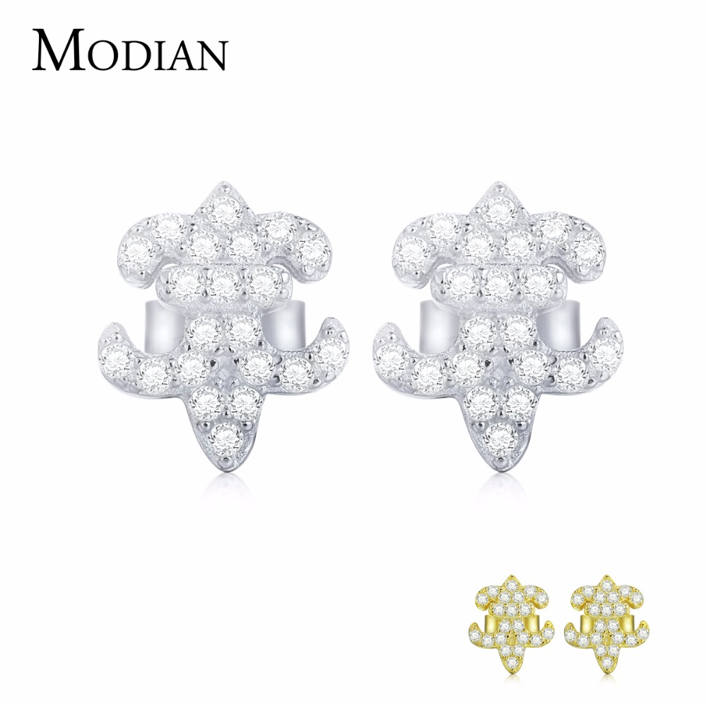 MODIAN 100% 925 Sterling Silver/Gold Sparkling Cute Lovely Claw Stud Earrings With Clear CZ Jewelry For Women Brincos 2013EAR