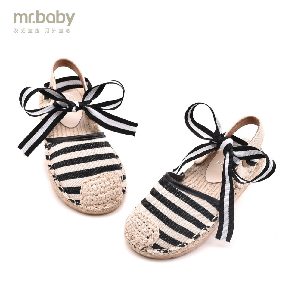 Mr. baby Original Children's shoes 2018 Summer New Sweet Breathable Comfortable Canvas Bowknot Girls Sandals sweet girl s sandals with bowknot and velcro design