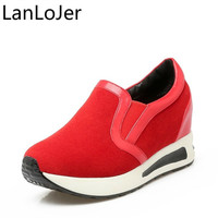 LanLoJer New Spring Casual Shoes Woman Size 31 42 Fashion Platform Comfort Shoes Female Walking Sneakers Hidden Wedges Heels
