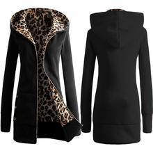 New Arrivals Zipper Cotton Blend Material  1PC Women Plus Velvet Thickened Hooded Sweater Leopard Zipper Coat vicky