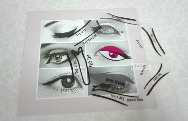 1pc Super style eyeliner stencil kit 6 model for eyebrows template the eye makeup a guide diy card 3
