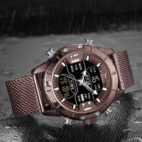NAVIFORCE Brand Men Sport Watch Dual Time Quartz LED Digital Clock Ultra Thin Mesh Strap Waterproof Luxury Dress Chic Wristwatch