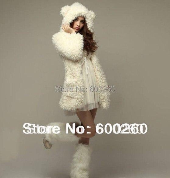 autumn and winter women's coat jacket stuffed teddy  cure bear ears hooded wool coat for women