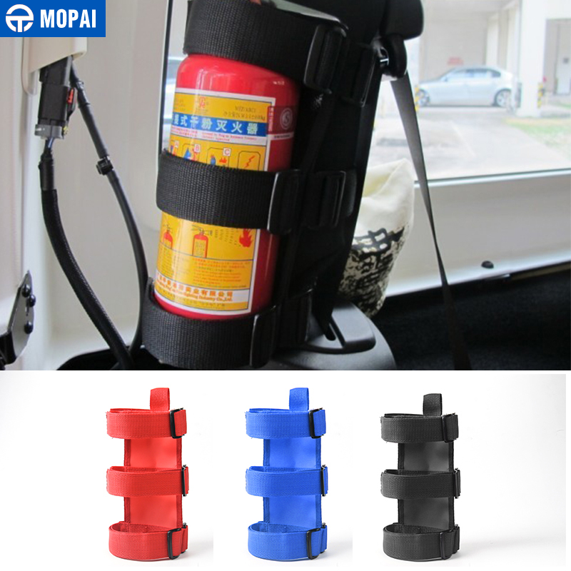 MOPAI Car Interior Roll Bar Fire Extinguisher Holder Stickers Car Accessorie For Jeep Wrangler JK JL 2007-2018 Car Styling