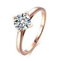Corte Brillante redondo Laboratorio Crecido Diamante 5ct Moissanites Solitario 14 k Oro Rosa Anillo de Compromiso Anillos de Boda Tamaño 4-10