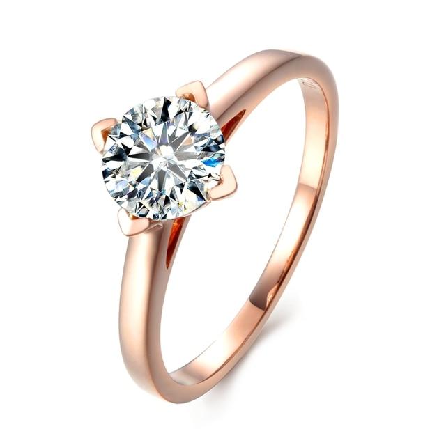 f17567233104 Ronda brillante corte 5ct Lab crecido diamante solitario 14 K oro rosa  anillo de compromiso moissanite