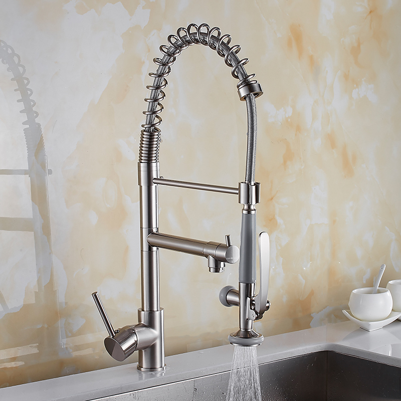 Kitchen Faucet Brushed Nickel Kitchen Faucet Brass Faucet Kitchen Sink Mixer Tap Pull Down Out Spring Spout Hot Cold Water Tap