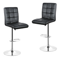 DOORSACCERY 2PCS Set Black PU Leather Swivel Bar Stools Chairs Height Adjustable Counter Pub Chair Barstools