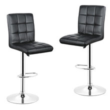DOORSACCERY 2PCS/Set Black PU Leather Swivel Bar Stools Chairs Height Adjustable Counter Pub Chair Barstools HWC(China)