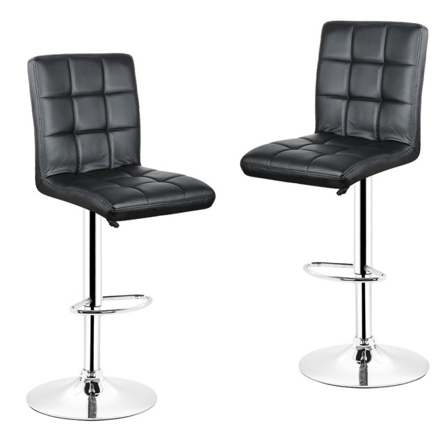 Beau DOORSACCERY 2PCS/Set Black PU Leather Swivel Bar Stools Chairs Height  Adjustable Counter Pub Chair