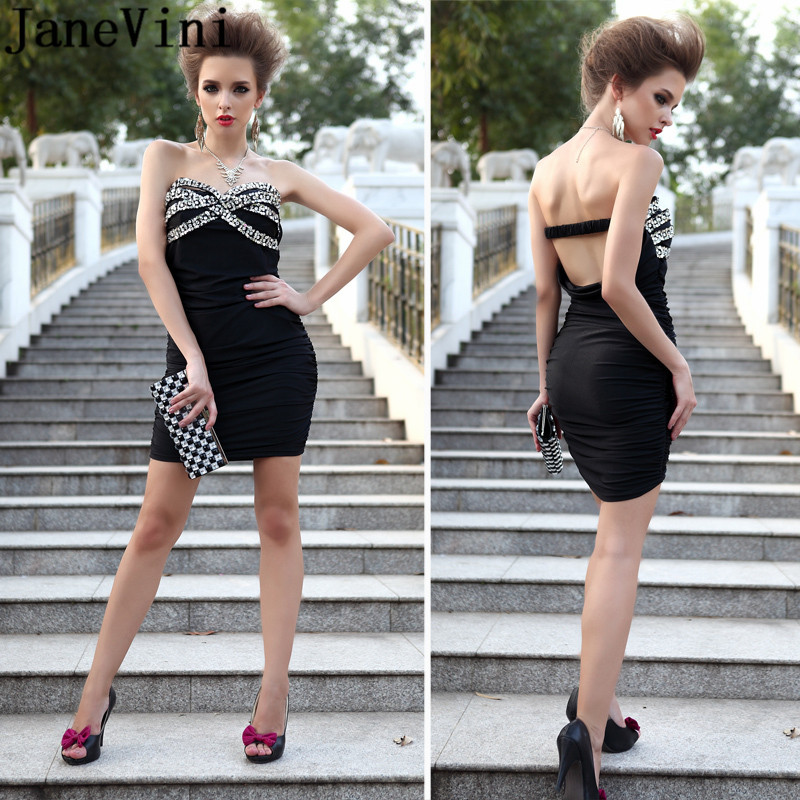 JaneVini Tight Fitted Mini Cocktail Dress for Women Sexy Beads Sequined Black Short Party Dresses Night Club Gown Robe De Soiree