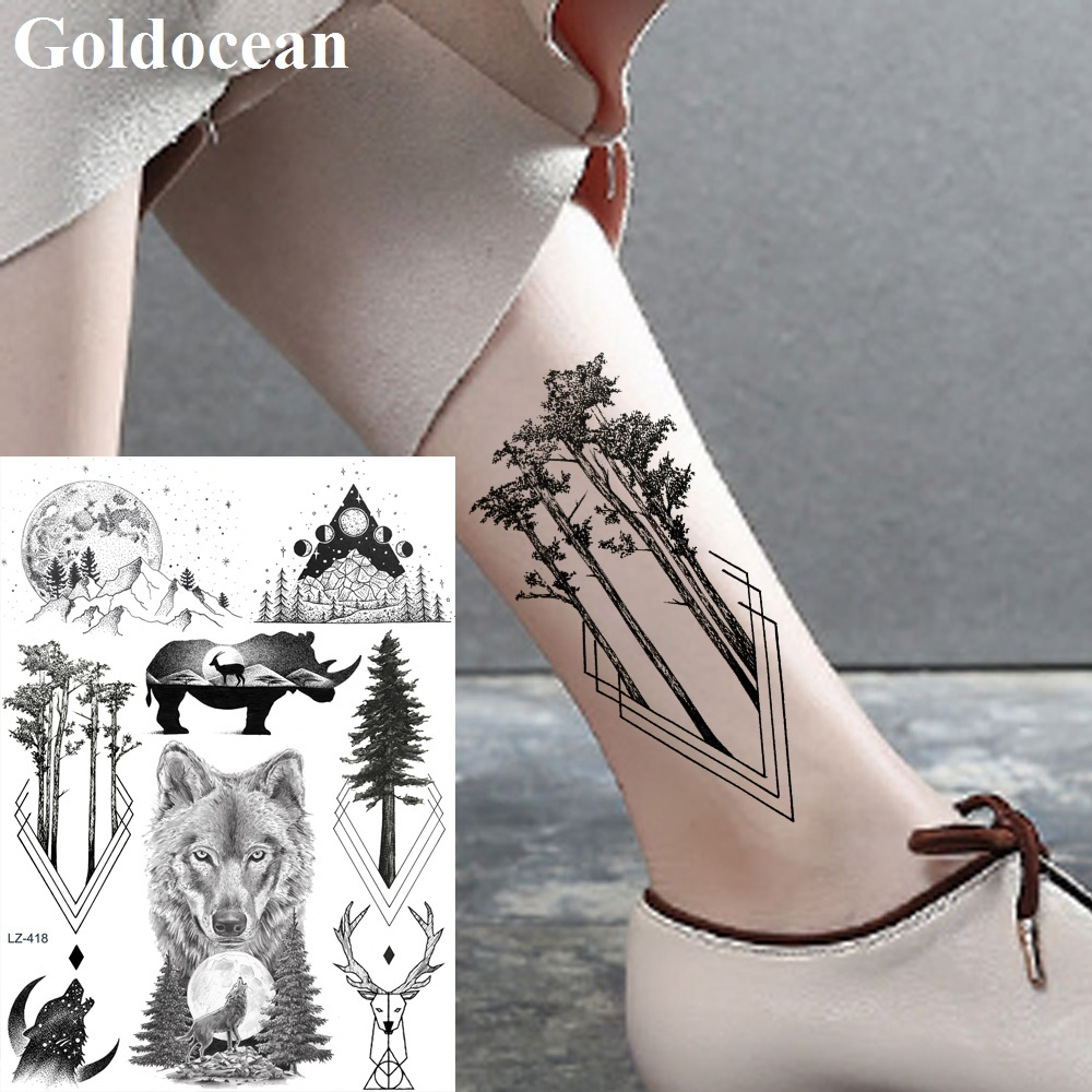 Water Transfer Diamond Pine Tree Fake Tattoo Stickers Ankle Arm Wolf Men Tatto Temporary Women Custom Forest Tattoos Supplies