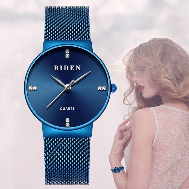 Luxe cristal Couple montres hommes femmes bleu Royal acier Top marque mode mâle femme horloge maille bande noir montre-bracelet Relogio