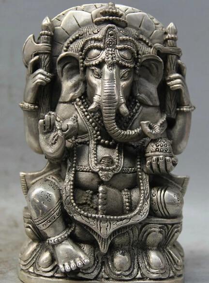 Tibetan Silver and Ox Bone Carved Ganesh Elephant Repousse Pendant Tibet Pendant Ganesha Lotus Flower Nepal Namaste