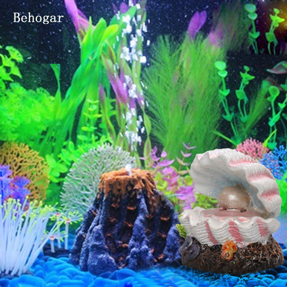 Behogar Pearl Shell Volcano Coral Shape Toys Aquarium Decoration Fish Tank Oxygen Pump Air Bubble Bomb Air Stone Drive Ornament