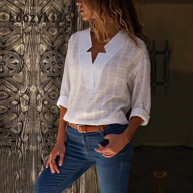 LOOZYKIT Новинка 2019 года для женщин пикантные блузки с v-образным вырезом повседневное плед с длинным рукавом рубашки для мальчиков осень кимоно Blusa Топ Camisa Mujer