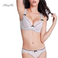 MINGMO Fashion Underwear Women Bra Set Plus Size Lingerie Sexy B C D Cup Ultrathin Transparent
