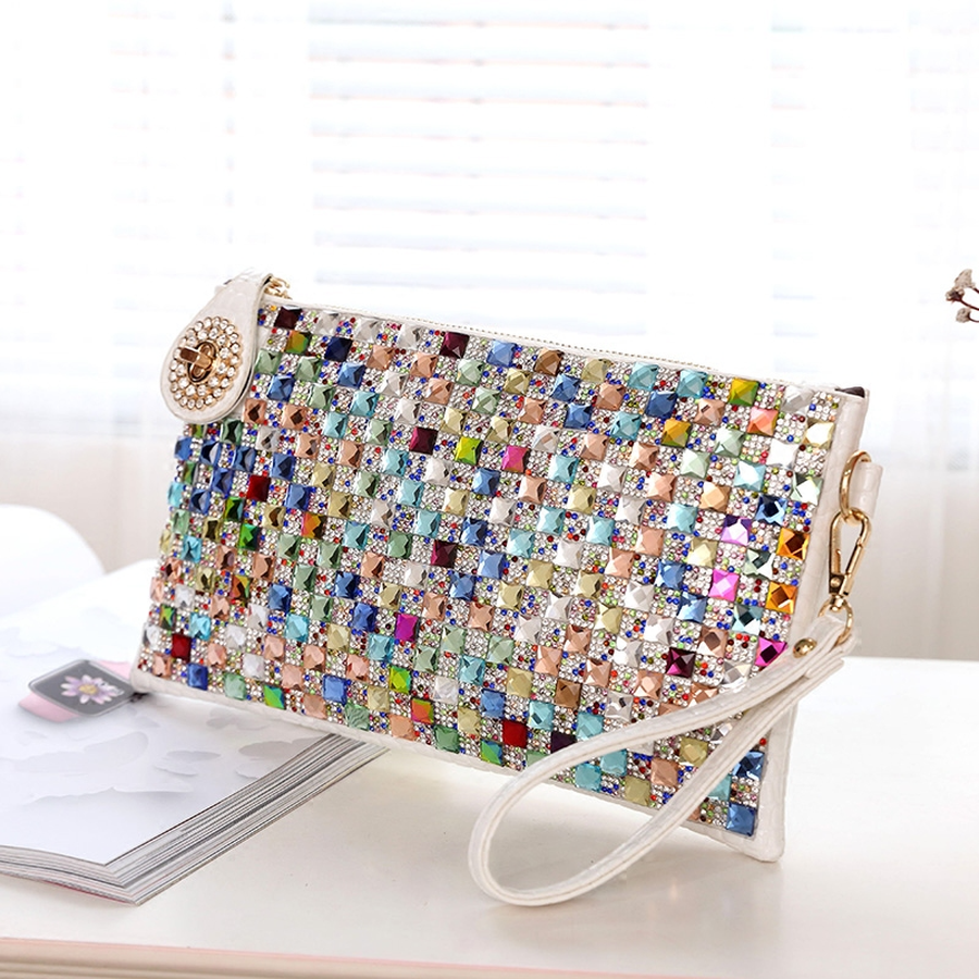Colorful Rhinestone Women Clutch Bag Designer Luxury Diamond Ladies Evening Bag Chic Shoulder Crossbody Bags Party Small Purse