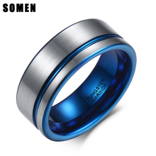 цена Somen 8mm Blue Line Brushed Surface Tungsten Rings For Men Bridegroom Wedding Band Jewelry Male Casual Bijoux Comfort it онлайн в 2017 году