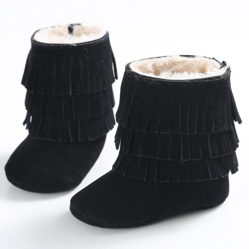 Winter Infant Soft Newborn Shoes Baby Girl Boy Kid Fringe ShoesSoled Anti-slip Super Warm Boots Booties LM58 New