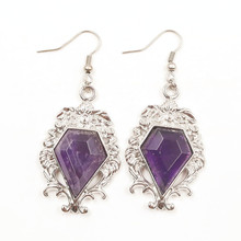 FYJS Unique Jewelry Silver Plated Pentagon Arrow Natural Purple Amethysts Stone Dangle Earrings