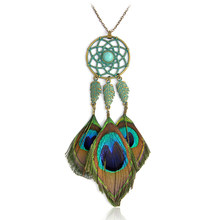 Bohemia Peacock feather necklace Green Metal Dreamcatcher Stone Leave Long Pendant necklace for women Fashion Boho Jewelry Gift(China)