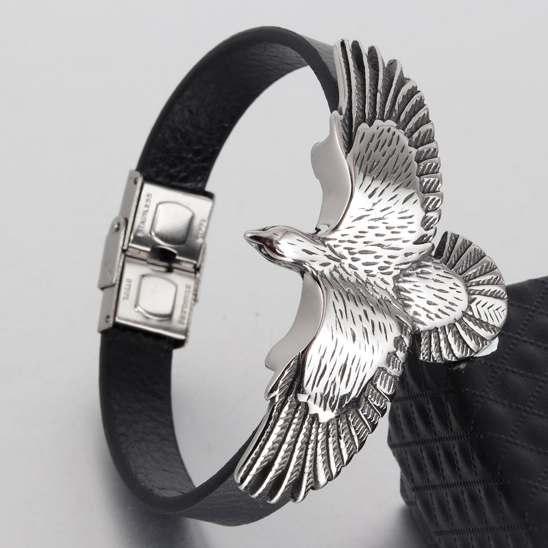 цена Vintage Jewelry Eagle Black Leather Bracelet Men Cool Stainless Steel Cuff Rope Bracelets For Men And Women pulseira Rope Chain